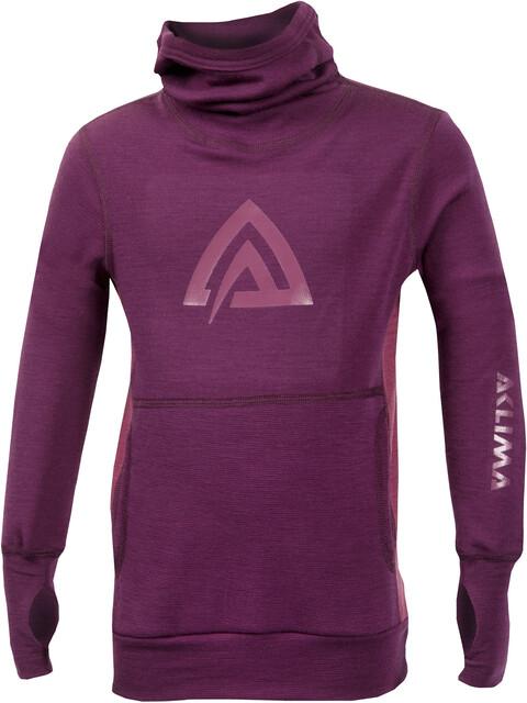 Aclima Kids WarmWool Hood Sweater Grape Wine/Damson